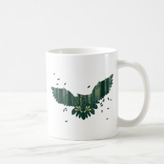 Owl and Abstract Forest Landscape Coffee Mug