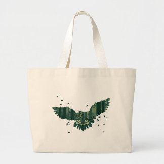 Owl and Abstract Forest Landscape Large Tote Bag