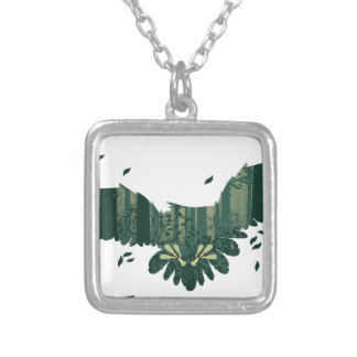 Owl and Abstract Forest Landscape Silver Plated Necklace