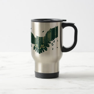 Owl and Abstract Forest Landscape Travel Mug