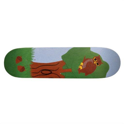 Owl and an Oak Tree Whimsical Cartoon Art Custom Skateboard