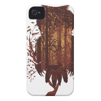 Owl and Autumn Forest Landscape2 Case-Mate iPhone 4 Cases