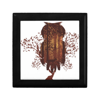 Owl and Autumn Forest Landscape2 Gift Box