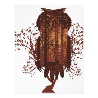 Owl and Autumn Forest Landscape2 Letterhead Design