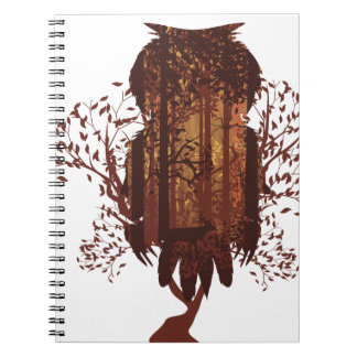 Owl and Autumn Forest Landscape2 Notebook