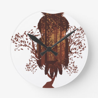 Owl and Autumn Forest Landscape2 Round Clock