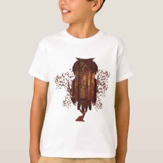 Owl and Autumn Forest Landscape2 T-Shirt