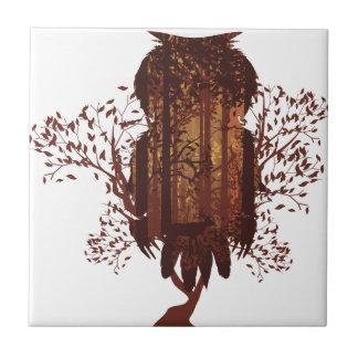 Owl and Autumn Forest Landscape2 Tile