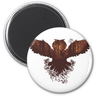 Owl and Autumn Forest Landscape 2 Inch Round Magnet