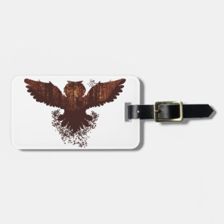 Owl and Autumn Forest Landscape Luggage Tag