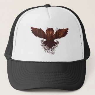 Owl and Autumn Forest Landscape Trucker Hat