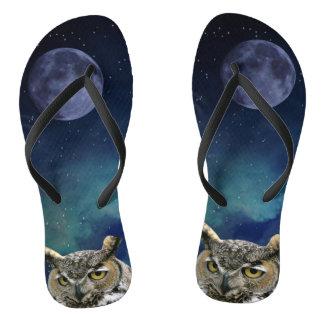 Owl and Blue Moon Flip Flops