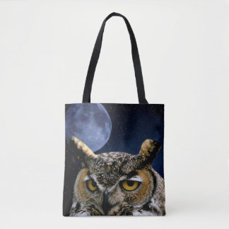 Owl and Blue Moon Tote Bag