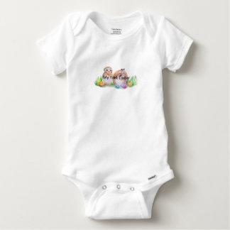 Owl and bunny Easter art Baby Onesie
