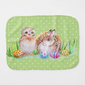 Owl and bunny Easter art Burp Cloth