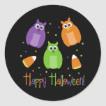Owl and Candy Corn Halloween Stickers