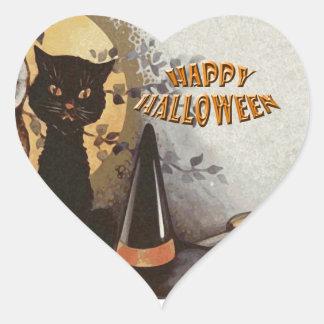 Owl and Cat Halloween Heart Sticker