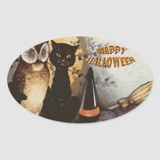 Owl and Cat Halloween Oval Sticker