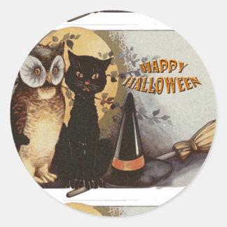 Owl and Cat Halloween Round Sticker