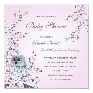 Owl  And Cherry Blossoms Baby Shower Card