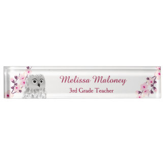 Owl And Cherry Blossoms Name Plate