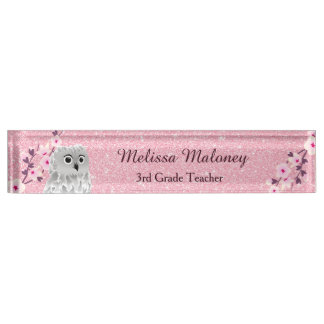 Owl And Cherry Blossoms Pink Glitter Name Plate