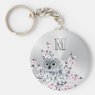 Owl And Cherry Blossoms Pink Silver Keychain