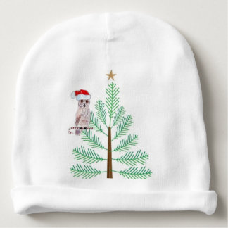 Owl and Christmas tree Baby Cotton Beanie Baby Beanie