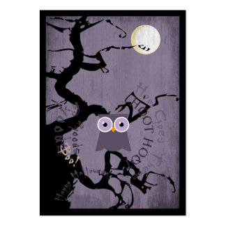 Owl and Creepy Gnarled Tree for Halloween Business Card Template
