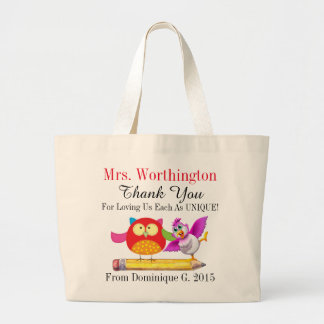 Owl and Cute Bird Teacher Thank You Tote Bag