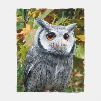 Owl and Leaves Fleece Blanket