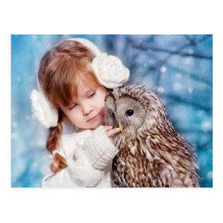 owl and little girl postcard