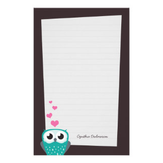 Owl and Love Hearts Note Paper (lined) Custom Stationery
