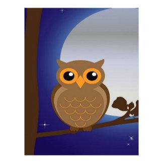owl and moonlight peace calm joy letterhead