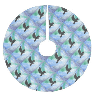 Owl And Northern Lights Brushed Polyester Tree Skirt