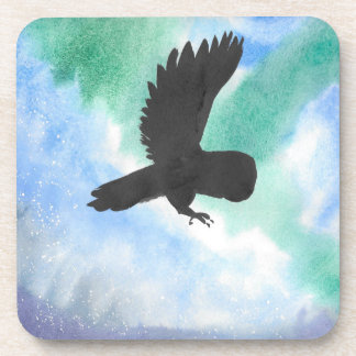 Owl And Northern Lights Drink Coasters