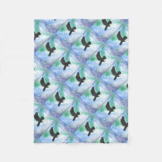 Owl And Northern Lights Fleece Blanket