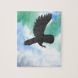 Owl And Northern Lights Jigsaw Puzzle