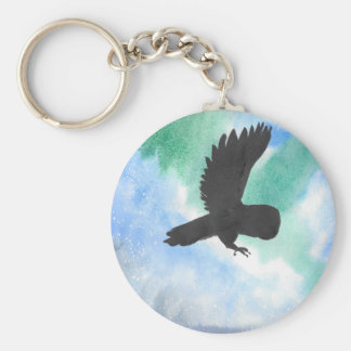 Owl And Northern Lights Keychain