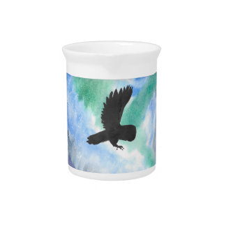 Owl And Northern Lights Pitcher