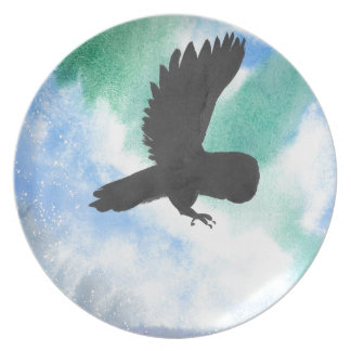 Owl And Northern Lights Plate