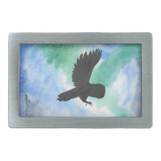 Owl And Northern Lights Rectangular Belt Buckles