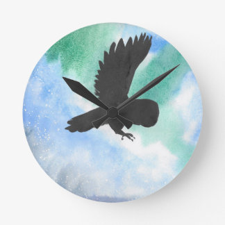 Owl And Northern Lights Round Clock
