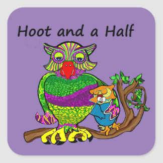 Owl and Owlet Square Sticker