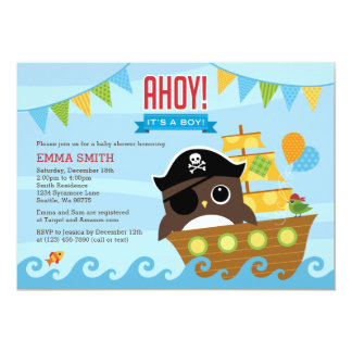 Owl and Pirate Ship Boy Baby Shower Invitation