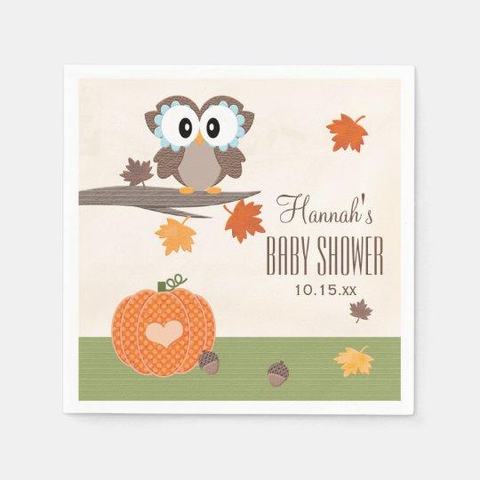 Owl and Pumpkin Autumn Baby Shower Paper Napkins