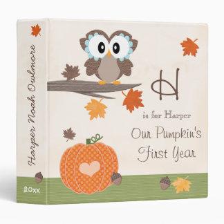 Owl and Pumpkin Fall Baby's First Year Album Vinyl Binders