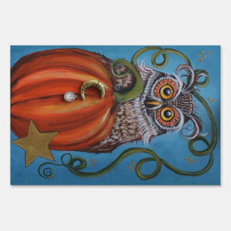 Owl and Pumpkin Painting Sign