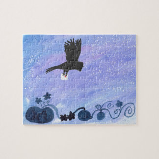 Owl And Pumpkin Patch Jigsaw Puzzle