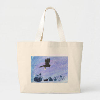 Owl And Pumpkin Patch Large Tote Bag